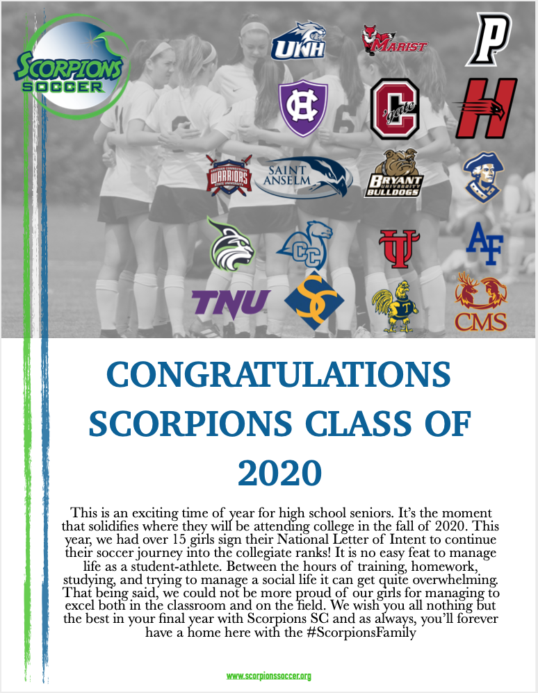 SCORPIONS 2020 COLLEGE COMMITMENTS !