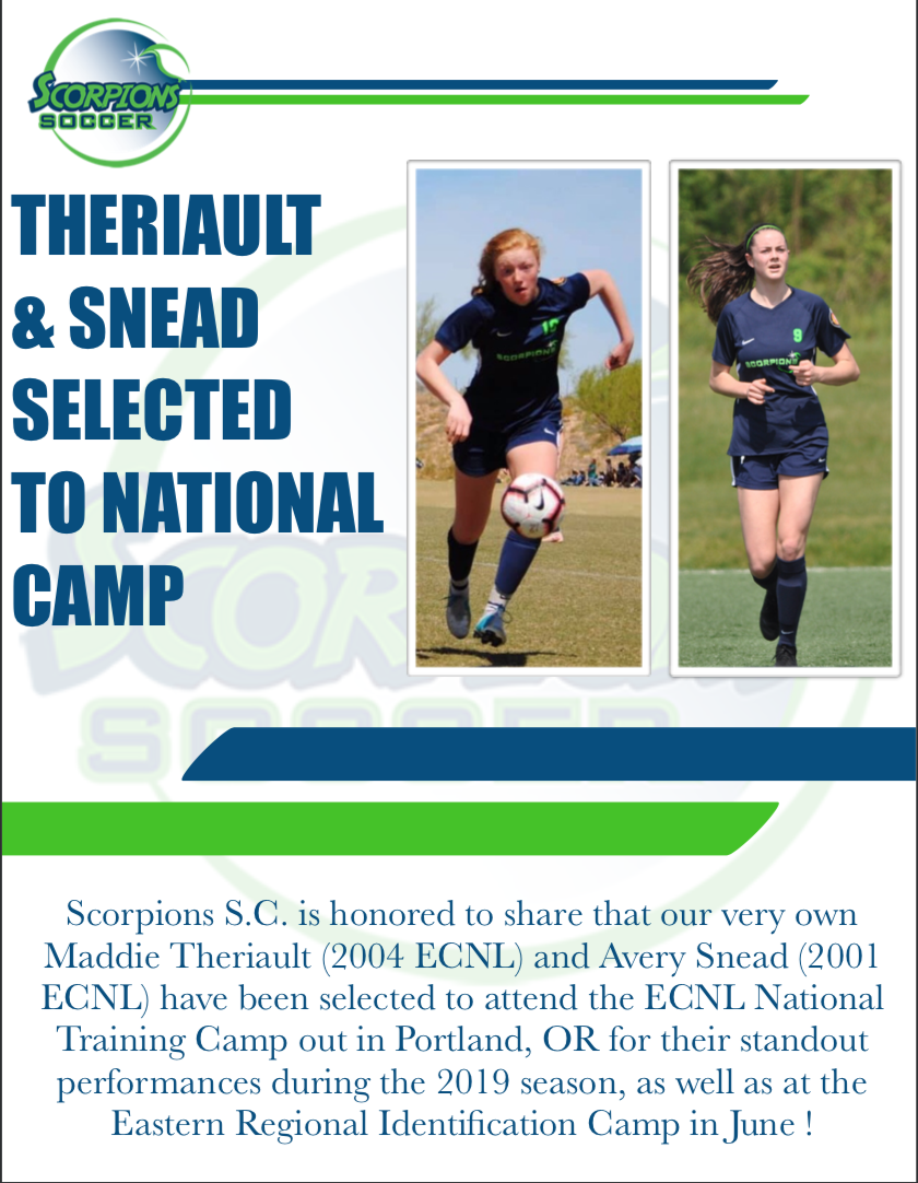 Theriault & Snead Selected To National Camp