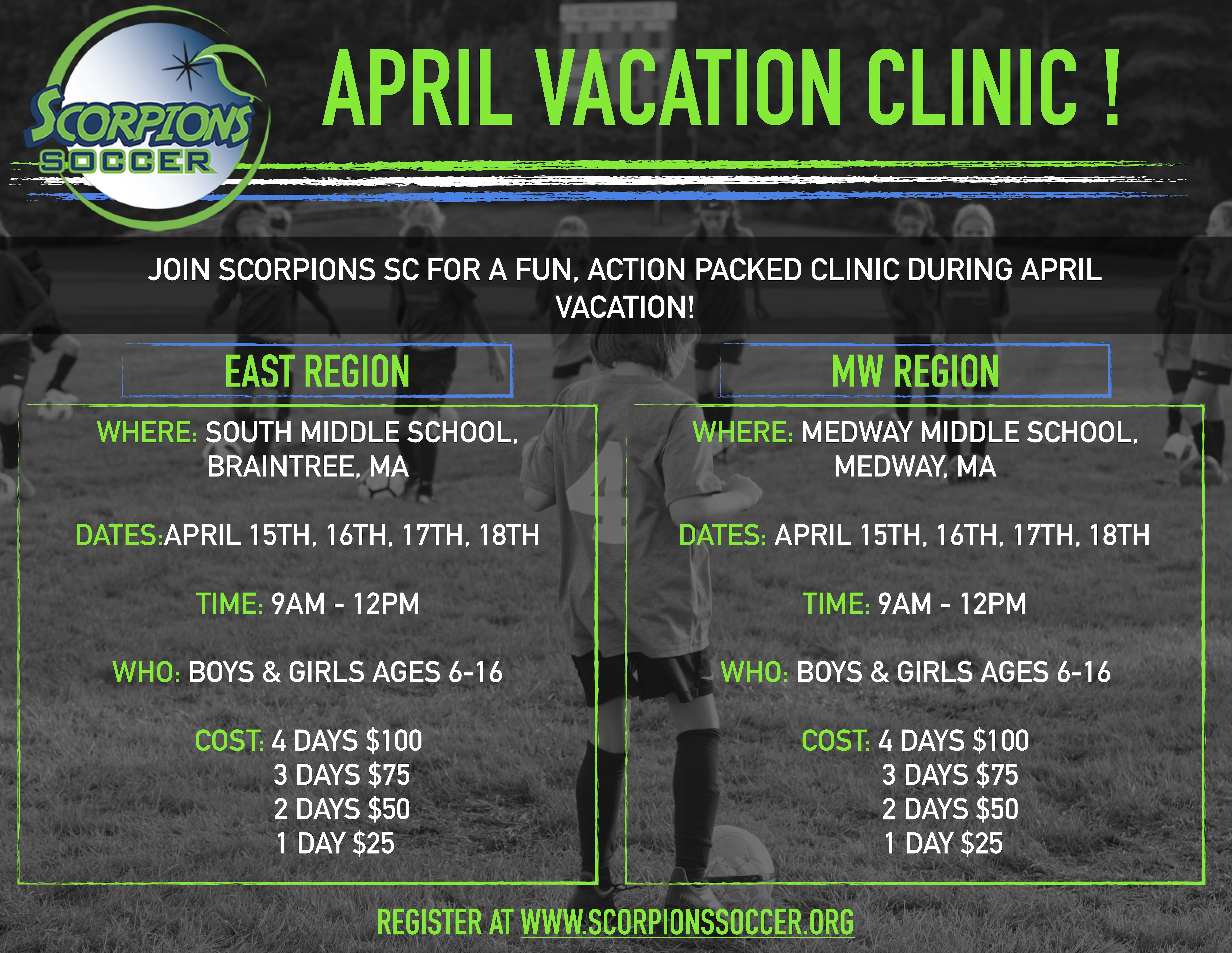 APRIL VACATION CLINICS ANNOUNCED !