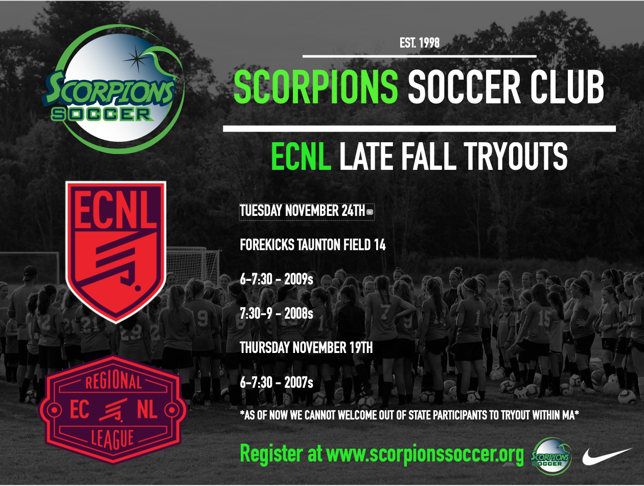 LATE FALL ECNL TRYOUTS!